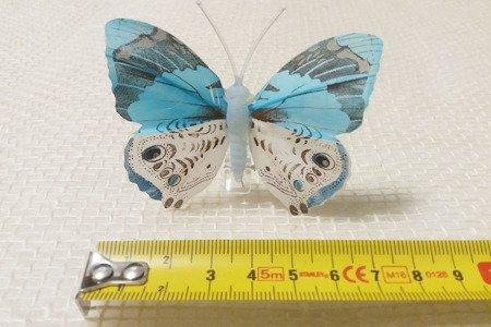 Motyl dekoracyjny na zapince kolor niebieski