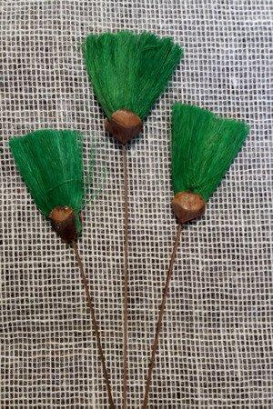 Wachlarzyki sizalowe 3 sztuki kolor zielony